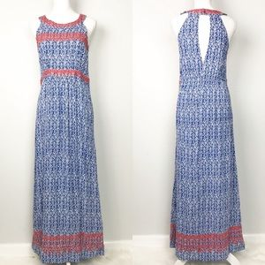 THML | Stitch Fox Blue Embroidered Maxi Dress